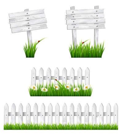 白い木製の標識と草とフェンスのセット。ベクトル。