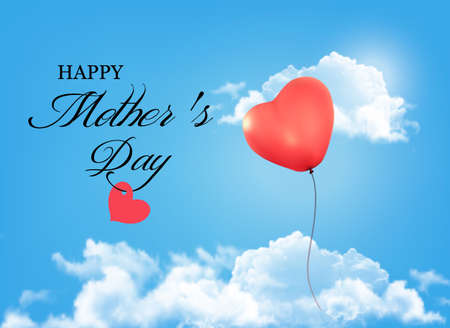 mothering: Mother day background. Holiday heart-shaped balloon in a blue sky with clouds. Vector.