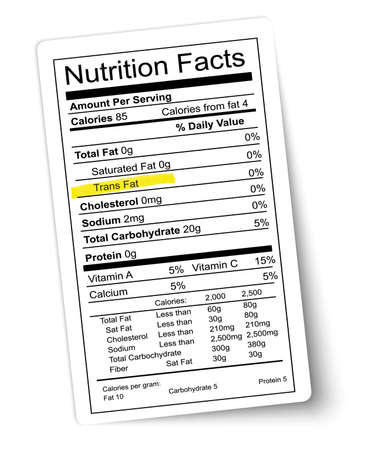 facts: Nutrition facts label. Fat highlighted. Vector.