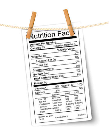 grasas saturadas: Etiqueta de Información Nutricional colgando de una cuerda. Vector. Vectores