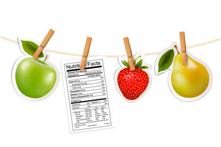 facts: Fruit stickers and a nutrition label hanging on a rope. Vector.