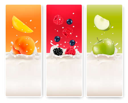 Three fruit and milk labels. Vector. Vector