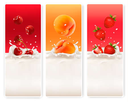 fruit: Three fruit and milk labels. Vector.