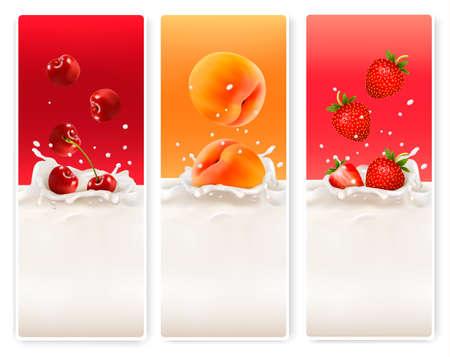 yogurt natural: Tres etiquetas de frutas y leche. Vector.