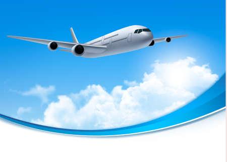 Reise-Hintergrund mit einem Flugzeug und weißen Wolken. Vector.
