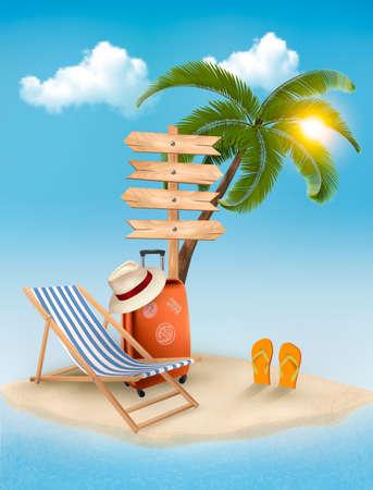 Playa con una palmera, una señal de dirección y una silla de playa. Verano concepto de fondo de vacaciones. Vector. Ilustración de vector