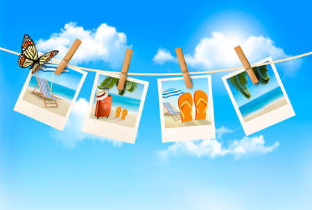 travel collage: Vacation photos hanging on a rope. Vector.  Illustration