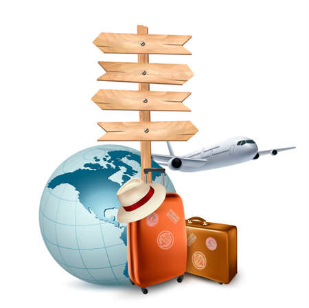 travel background: Two travel suitcases, a plane, a globe and a direction sign. Vector illustration.  Illustration