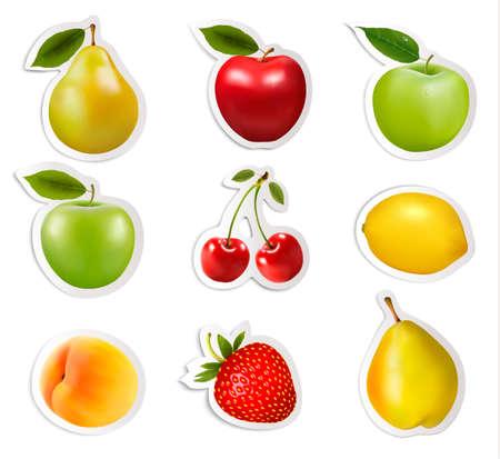 Set of flat fruit stickers  Vector  Vector