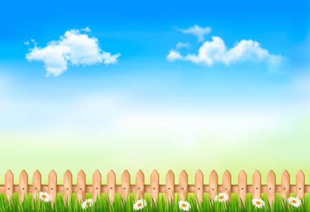 summer nature: Summer nature background with green grass and wooden fence   Vector   Illustration