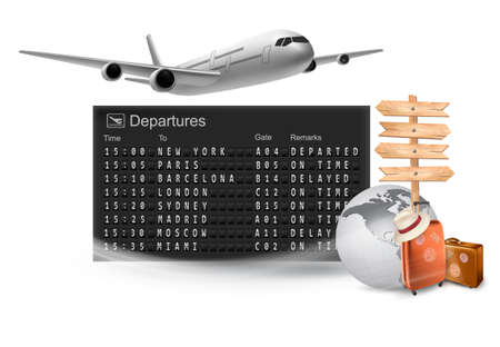 departure: Travel background with mechanical departures board and airline.  Illustration