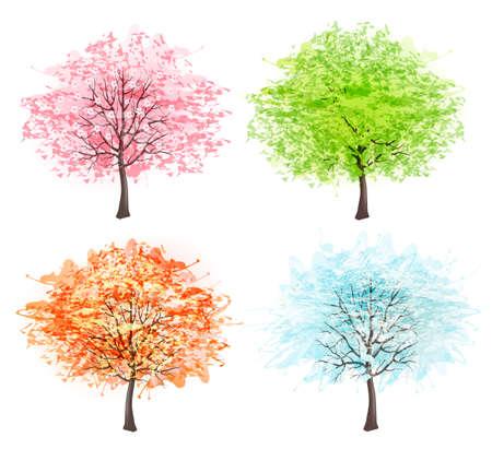 四季 - 春、夏、秋、冬します。あなたのデザインの美しい芸術の木。ベクトル イラスト。