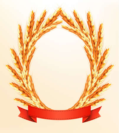 Ripe yellow wheat ears with red ribbons. Vector background Vector