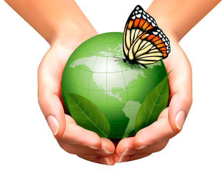 hands holding globe: Green world with leaf and butterfly in woman hands. Vector illustration.