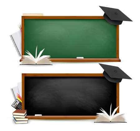 Two banners of chalkboards with school supplies and graduation caps. Vector