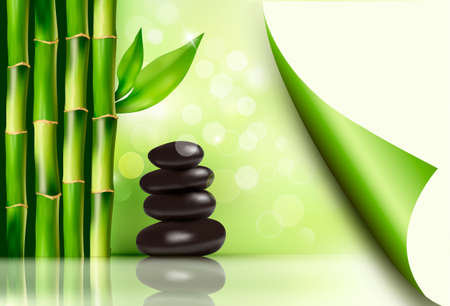 Spa background with bamboo and stones. Vector illustration.  Illustration