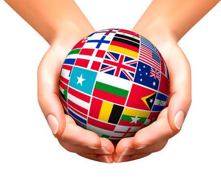 Vlaggen van de wereld in globe en handen. Vector illustratie. Vector Illustratie
