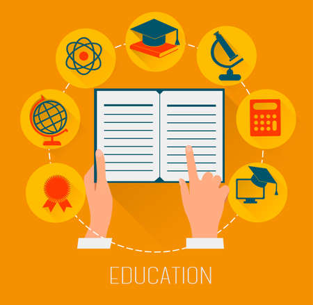 research education: Flat design concept icons for education  E-learning concept  Vector