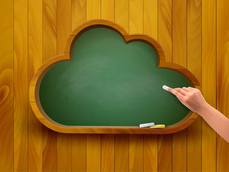 virtual classroom: Chalkboard in a shape of a cloud  E-learning concept  Vector