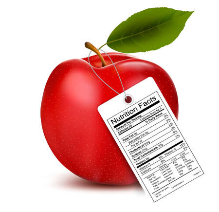 An apple with a nutrition facts label  Vector Vector
