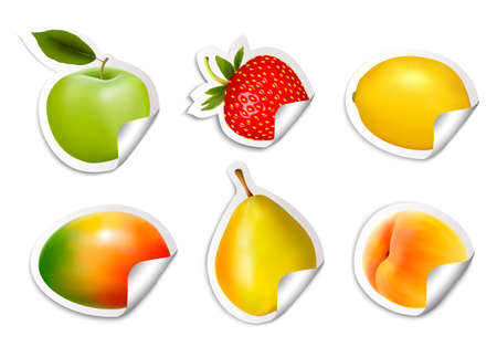 mango slice: Set of flat fruit stickers. Vector.  Illustration