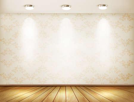 Wall with spotlights and wooden floor. Showroom concept. Vector illustration.  Vector