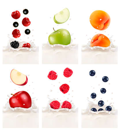 milk drop: Colorful fresh fruits falling into the milky splash. Vector illustration