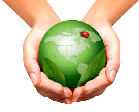 Green world with leaf and ladybug in woman hands. Vector illustration.  Vector