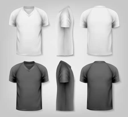 tshirt: V-neck t-shirts with sample text space. Vector.