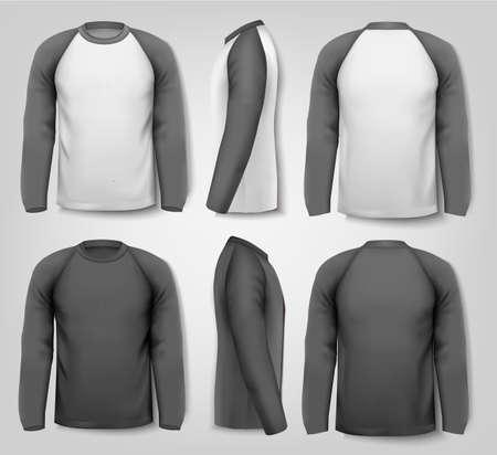 Camisas largas masculinas en blanco y negro de manga con texto de ejemplo. Diseño de la plantilla. Vector. Vectores