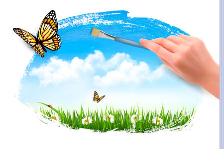 Nature background with butterflies and hand with brush. Vector.  Vector