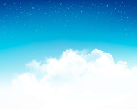 fluffy clouds: Background with stars in the night sky.