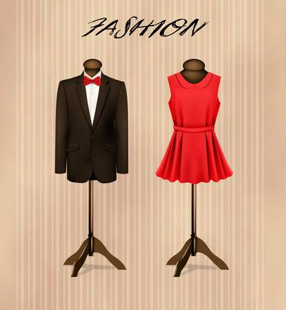 A suit and a retro formal dress on mannequins.  Illustration