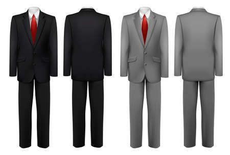 cobranza: Conjunto de trajes negros y grises. Vector.