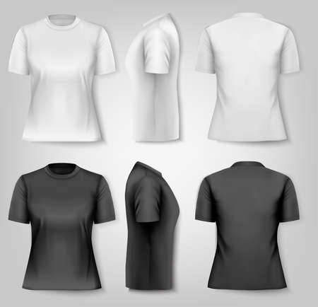 shirt template: Female T-shirts with sample text space. Vector. Illustration