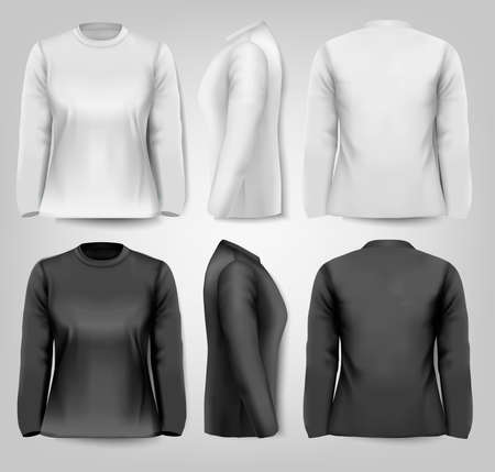 long sleeved: Long sleeved female t-shirts with sample text space. Vector.