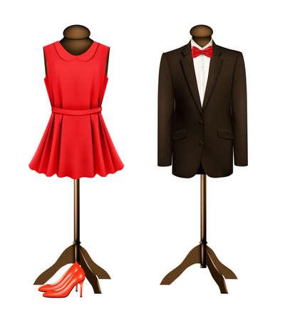 Un traje y un vestido formal en maniquíes con tacones rojos. Vector.