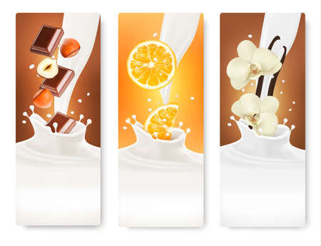 vanilla: Set of banners with hazelnuts, chocolate, oranges and vanilla falling into milk splashes. Vector.  Illustration