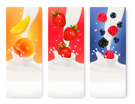 Three fruit and milk banners. Vector.  Vector