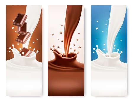 leche: Conjunto de banderas con el chocolate y la leche salpica. Vector.