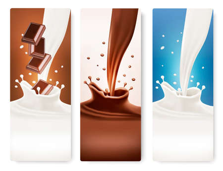 white chocolate: Set of banners with chocolate and milk splashes. Vector.  Illustration