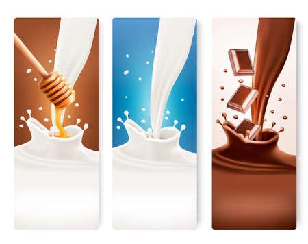 splash milk: Set of milk, honey and chocolate banners. Vector.  Illustration