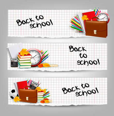 Back to school. Three banners with school supplies and autumn leaves. Vector.  Vector