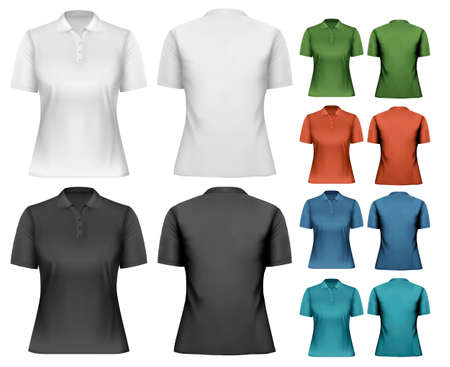black shirt: Female polo shirts. Design template. Vector.