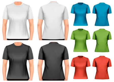 shirt template: Female t-shirts. Design template. Vector.  Illustration