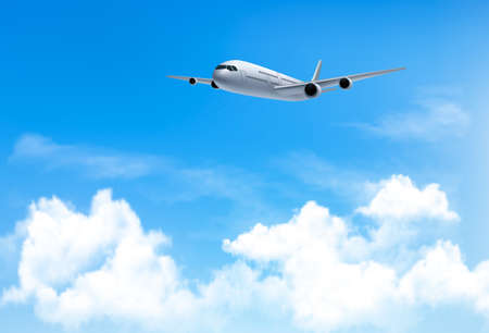 ร   ร   ร   ร  ร ยข  white clouds: Travel background with an airplane and white clouds. Vector.