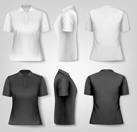 polo: Female polo shirts. Design template. Vector.