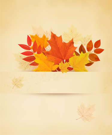Retro autumn background with colorful leaves. Vector. Vector