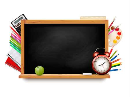 Back to school. Blackboard with school supplies. Vector.  Illustration