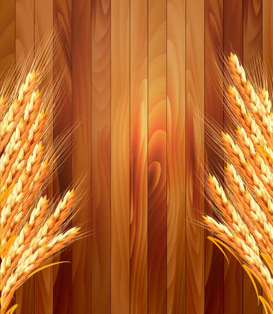 organic background: Ears of wheat on wooden background. Vector illustration